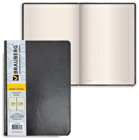 """Блокнот большой формат (200х252 мм) А4, BRAUBERG """"Income"""", 128 л., гладкий кожзаменитель, клетка, черный  Brauberg"""