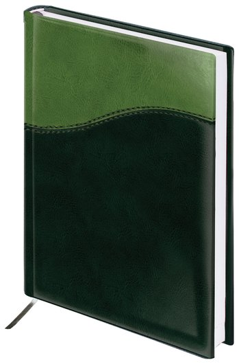 """Ежедневник недатированный А5 (138х213 мм) Brauberg """"Bond"""", под комбинированную кожу с волной, 160 л., зеленый/салатовый  Brauberg"""