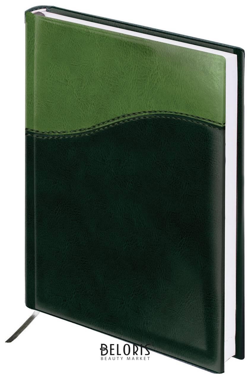 Ежедневник недатированный А5 (138х213 мм) Brauberg Bond, под комбинированную кожу с волной, 160 л., зеленый/салатовый Brauberg