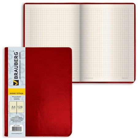"""Блокнот большой формат (200х252 мм) А4, Brauberg """"Income"""", 128 л., гладкий кожзаменитель, клетка, красный  Brauberg"""