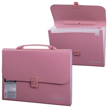 Портфель пластиковый Brauberg А4 (327х254х30 мм), 13 отделений, индексные ярлыки, розовый  Brauberg