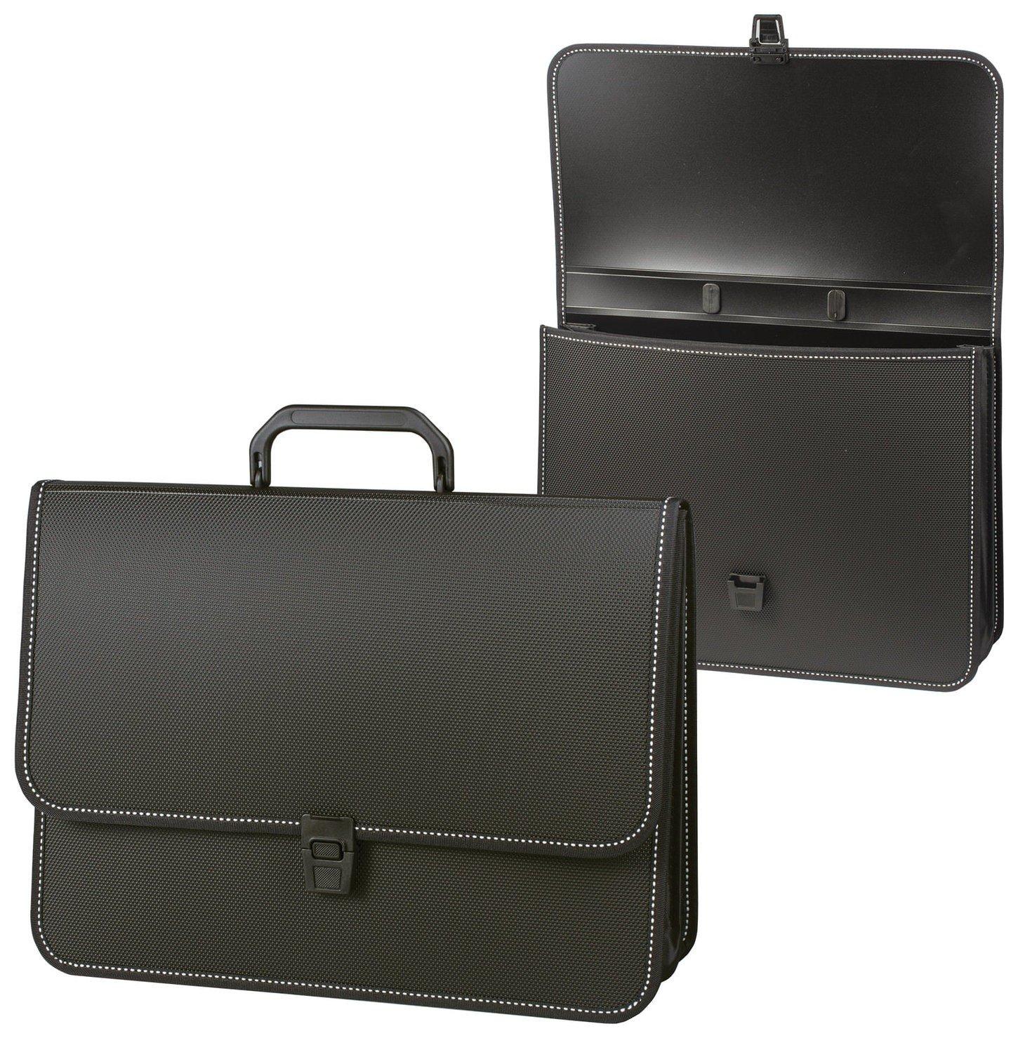 """Портфель пластиковый Brauberg """"Консул"""", А4 (370х280х120 мм), 2 отделения, с окантовкой, фактура бисер, черный  Brauberg"""