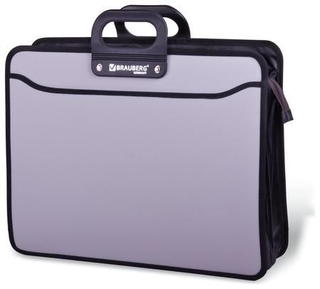 """Портфель пластиковый большого формата А3 (470х380х130 мм), Brauberg """"Портфолио"""", 3 отделения, на молнии, серый  Brauberg"""