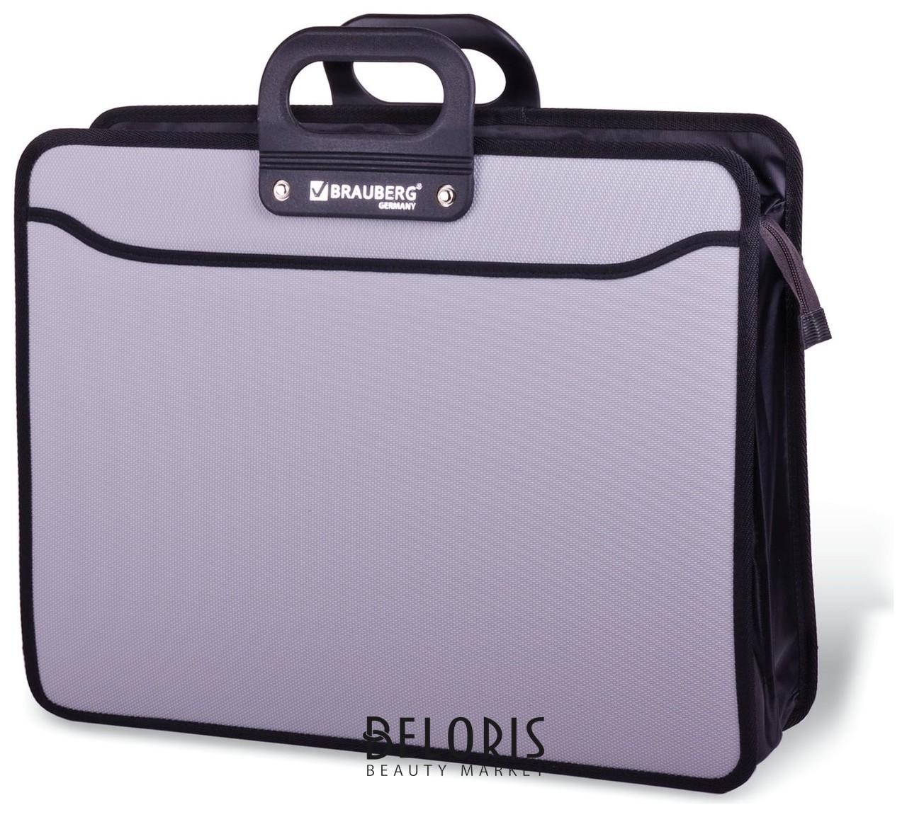 Портфель пластиковый большого формата А3 (470х380х130 мм), Brauberg Портфолио, 3 отделения, на молнии, серый Brauberg