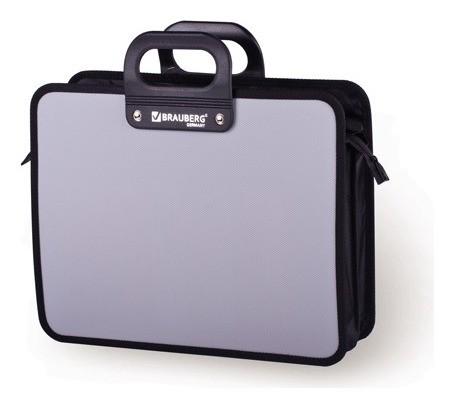 """Портфель пластиковый Brauberg """"Премьер"""", А4 (390х315х120 мм), 3 отделения, на молнии, фактура бисер, серый  Brauberg"""