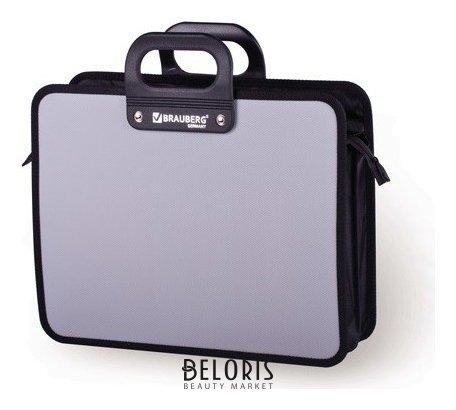 Портфель пластиковый Brauberg Премьер, А4 (390х315х120 мм), 3 отделения, на молнии, фактура бисер, серый Brauberg