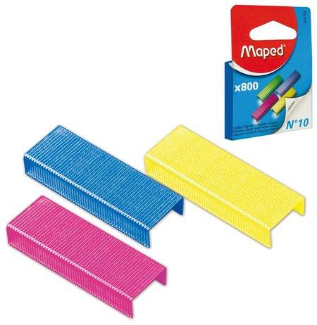 Скобы для степлера №10, 800 штук, цветные, Maped, до 20 листов  Maped