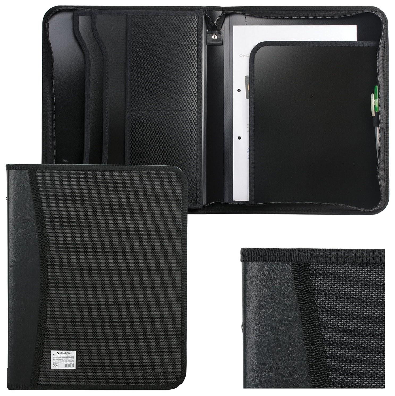 Папка на молнии пластиковая Brauberg, А4, 350х282х33 мм, 2 отделения, 4 кармана, бизнес-класс, черная  Brauberg