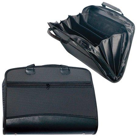 Портфель-папка пластиковая Brauberg А4+ (375х305х60 мм), бизнес-класс, 4 отделения, 2 кармана, на молнии, черный  Brauberg