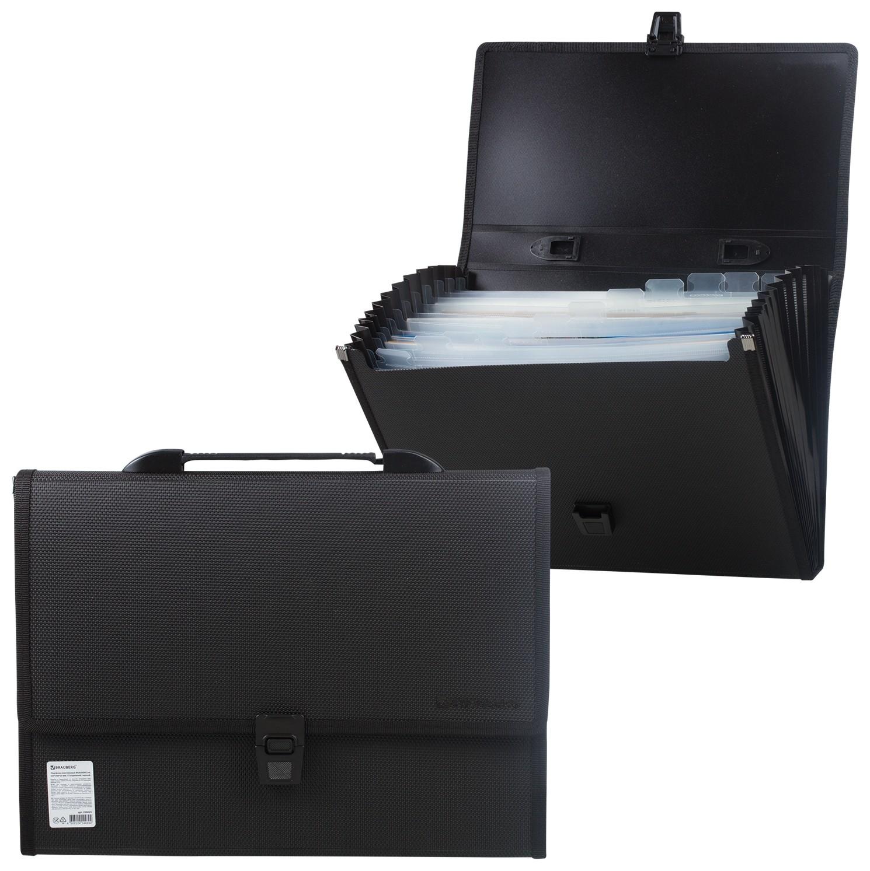 """Портфель пластиковый Brauberg """"Дипломат"""", А4 (332х245х35 мм), 13 отделений, с окантовкой, фактура бисер, черный  Brauberg"""