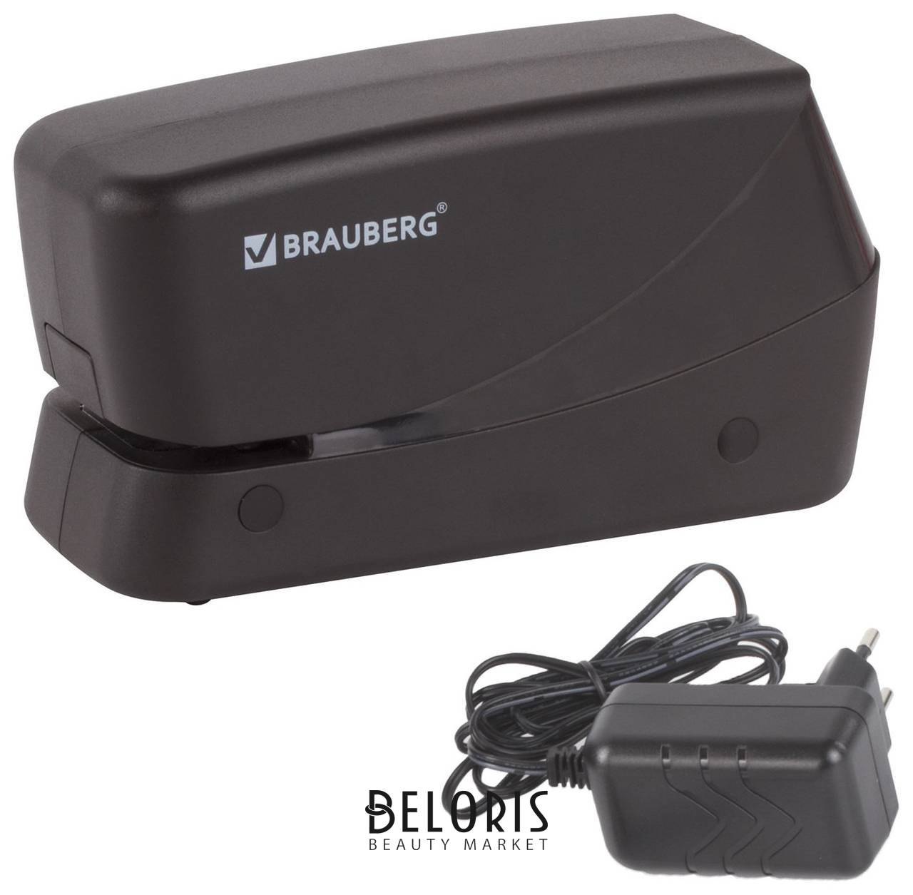 Степлер электрический №24/6, 26/6 Brauberg, до 20 листов, питание от сети/4 батареек АА, черный Brauberg