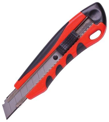 "Нож канцелярский 18 мм Brauberg ""Universal"", 3 лезвия в комплекте, автофиксатор, резиновые вставки  Brauberg"