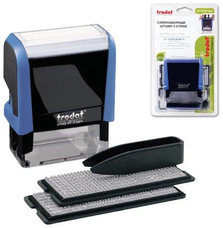 Штамп самонаборный 5-строчный, размер оттиска 58 х 22мм, синий без рамки, Trodat, кассы в комплекте  Trodat