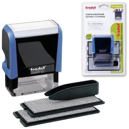 Штамп самонаборный 4-строчный, размер оттиска 47 х 18 мм, синий без рамки, Trodat, кассы в комплекте  Trodat