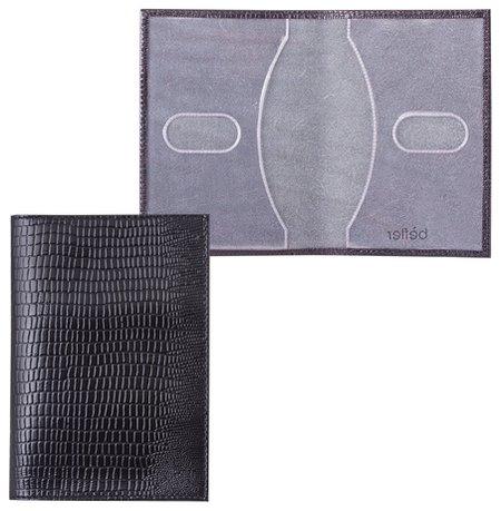 """Обложка для паспорта Befler """"Ящерица"""", натуральная кожа, тиснение, черная   Befler"""