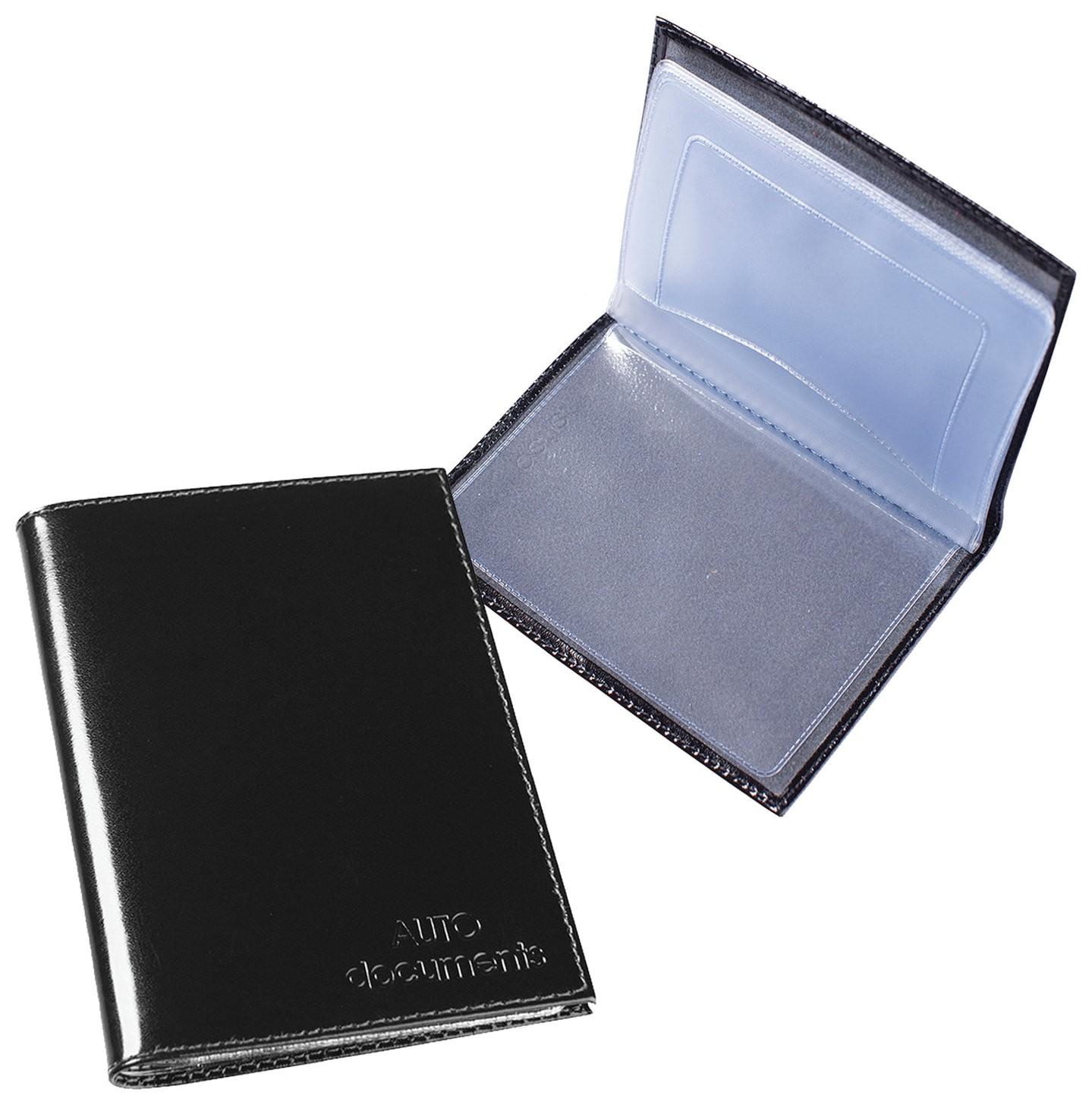 """Бумажник водителя Befler """"Classic"""", натуральная кожа, тиснение, 6 пластиковых карманов, черный   Befler"""