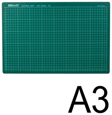 Коврик-подкладка настольный для резки А3 (450х300 мм), сантиметровая шкала, зеленый, 3 мм, Kw-trio