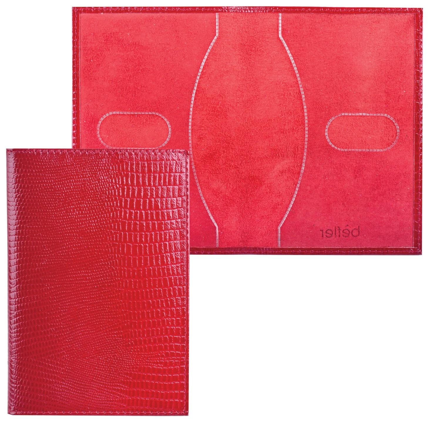 """Обложка для паспорта Befler """"Ящерица"""", натуральная кожа, тиснение, красная   Befler"""
