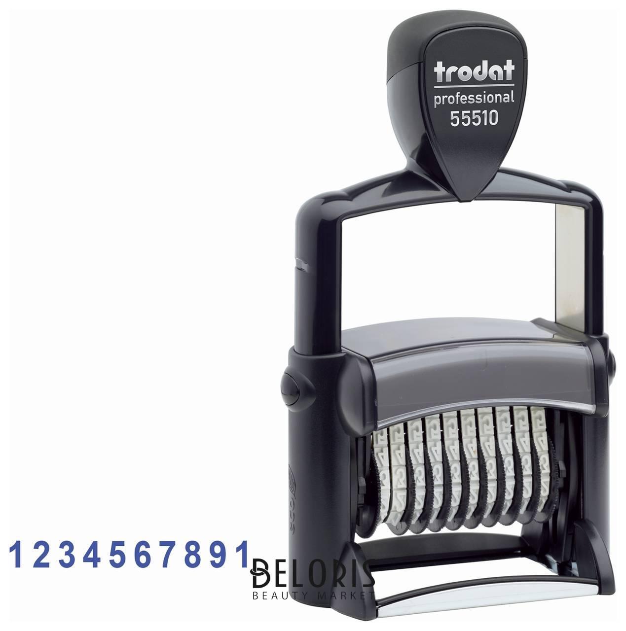 Нумератор металлический 10-разрядный, оттиск 47х5 мм, синий, Trodat 55510 Trodat