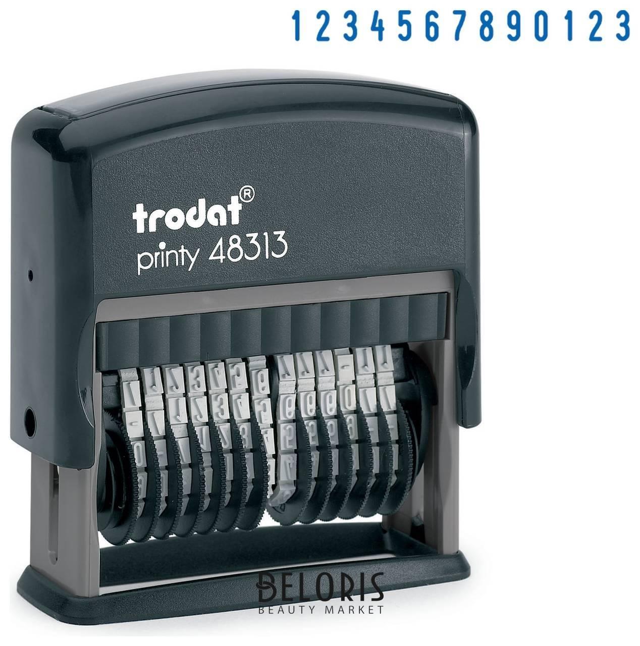 Нумератор 13-разрядный, оттиск 42х3,8 мм, синий, Trodat 48313, корпус черный Trodat