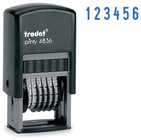 Нумератор 6-разрядный, оттиск 15х3,8 мм, синий, Trodat 4836, корпус черный  Trodat