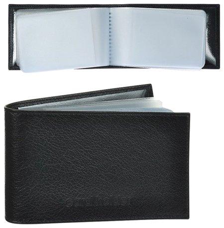 """Визитница карманная Befler """"Грейд"""" на 40 визитных карт, натуральная кожа, тиснение, черная   Befler"""