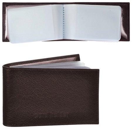 """Визитница карманная Befler """"Грейд"""" на 40 визитных карт, натуральная кожа, тиснение, коричневая   Befler"""