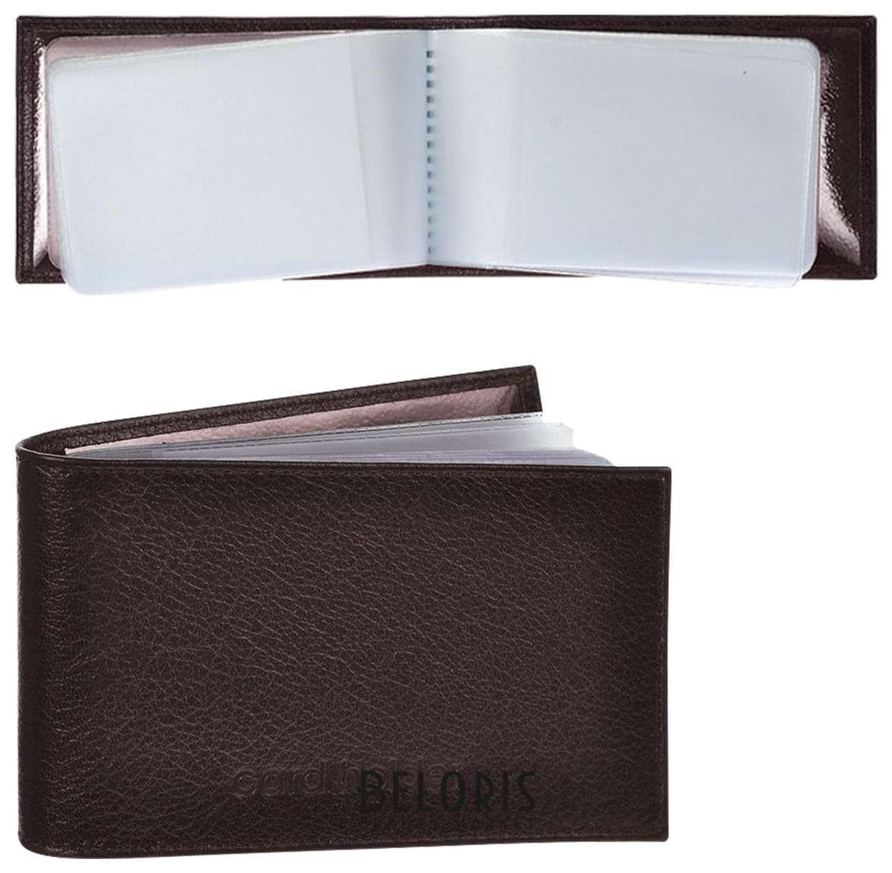 Визитница карманная Befler Грейд на 40 визитных карт, натуральная кожа, тиснение, коричневая  Befler