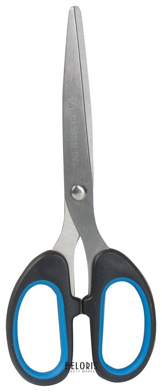Ножницы Classic классической формы резиновые вставки черно-синие Brauberg
