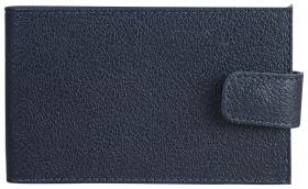 "Визитница карманная Befler ""Грейд"", на 40 визиток, натуральная кожа, на кнопке, синяя  Befler"