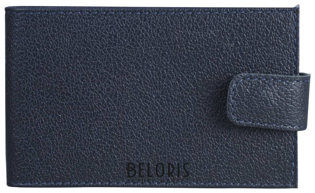 Визитница карманная Befler Грейд, на 40 визиток, натуральная кожа, на кнопке, синяя Befler