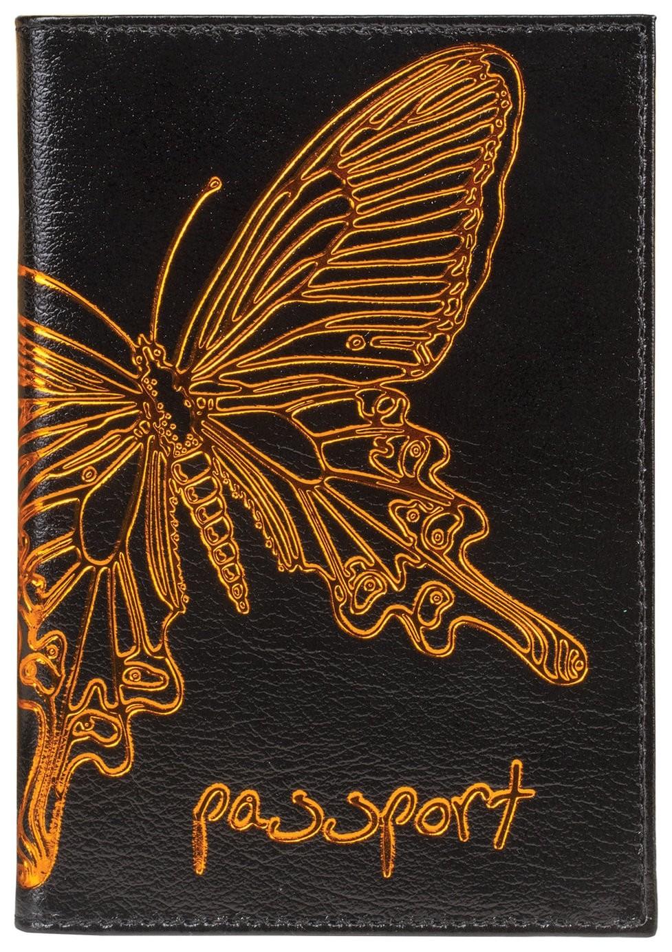 """Обложка для паспорта Befler """"Бабочка"""", натуральная кожа, тисненение-принт, черная  Befler"""