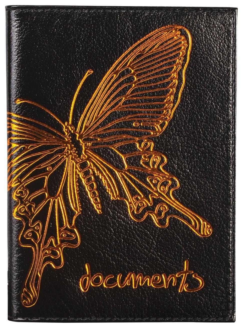 """Бумажник водителя Befler """"Бабочка"""", натуральная кожа, тиснение-принт, 6 пластиковых карманов, черный  Befler"""