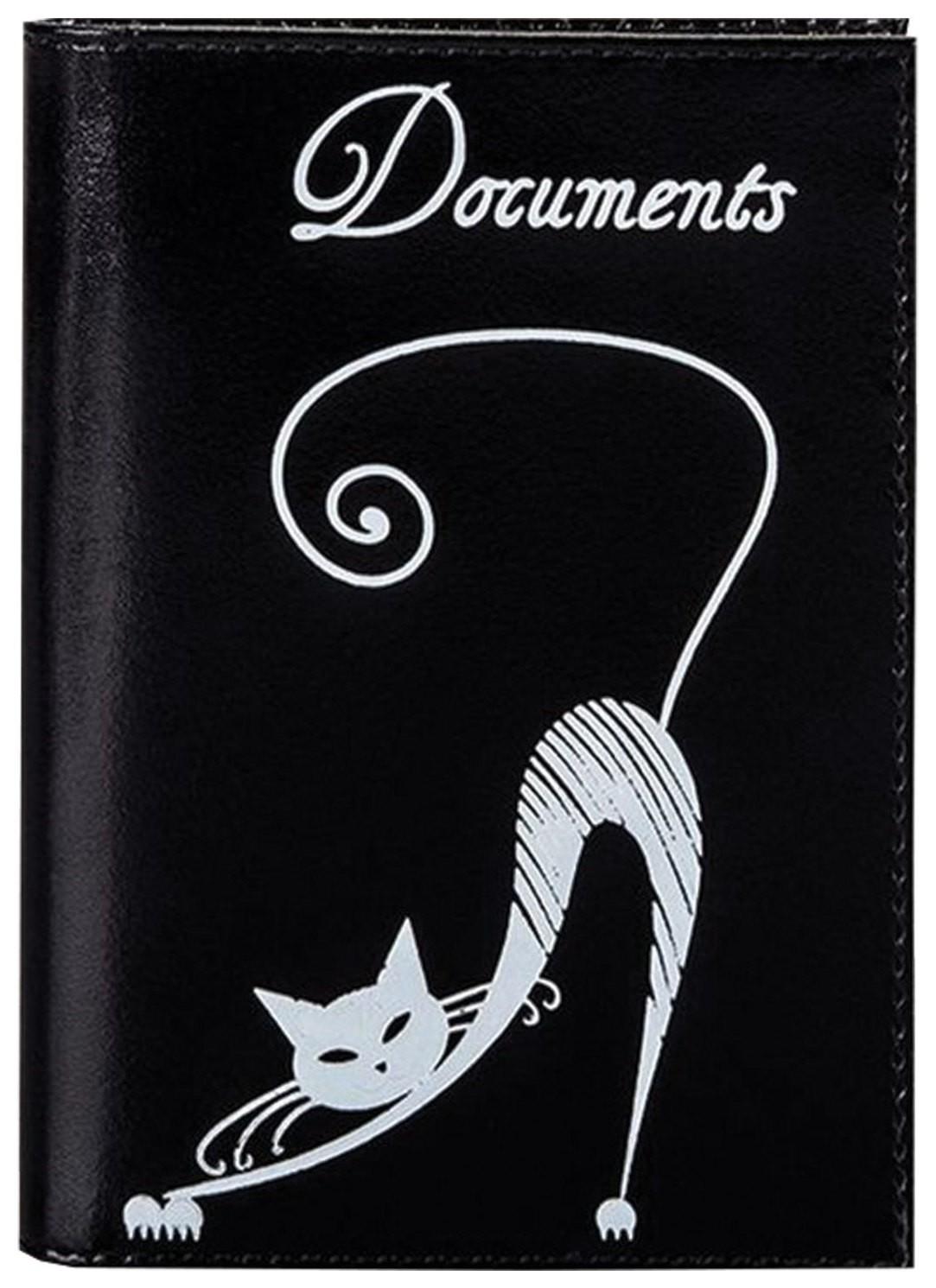 """Бумажник водителя Befler """"Изящная кошка"""", натуральная кожа, тиснение, 6 пластиковых карманов, черный  Befler"""