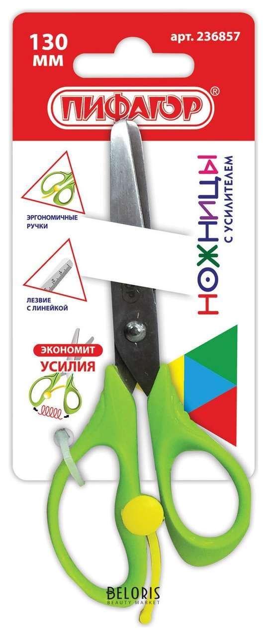 Ножницы с линейкой зеленые в картонной упаковке с европодвесом Пифагор