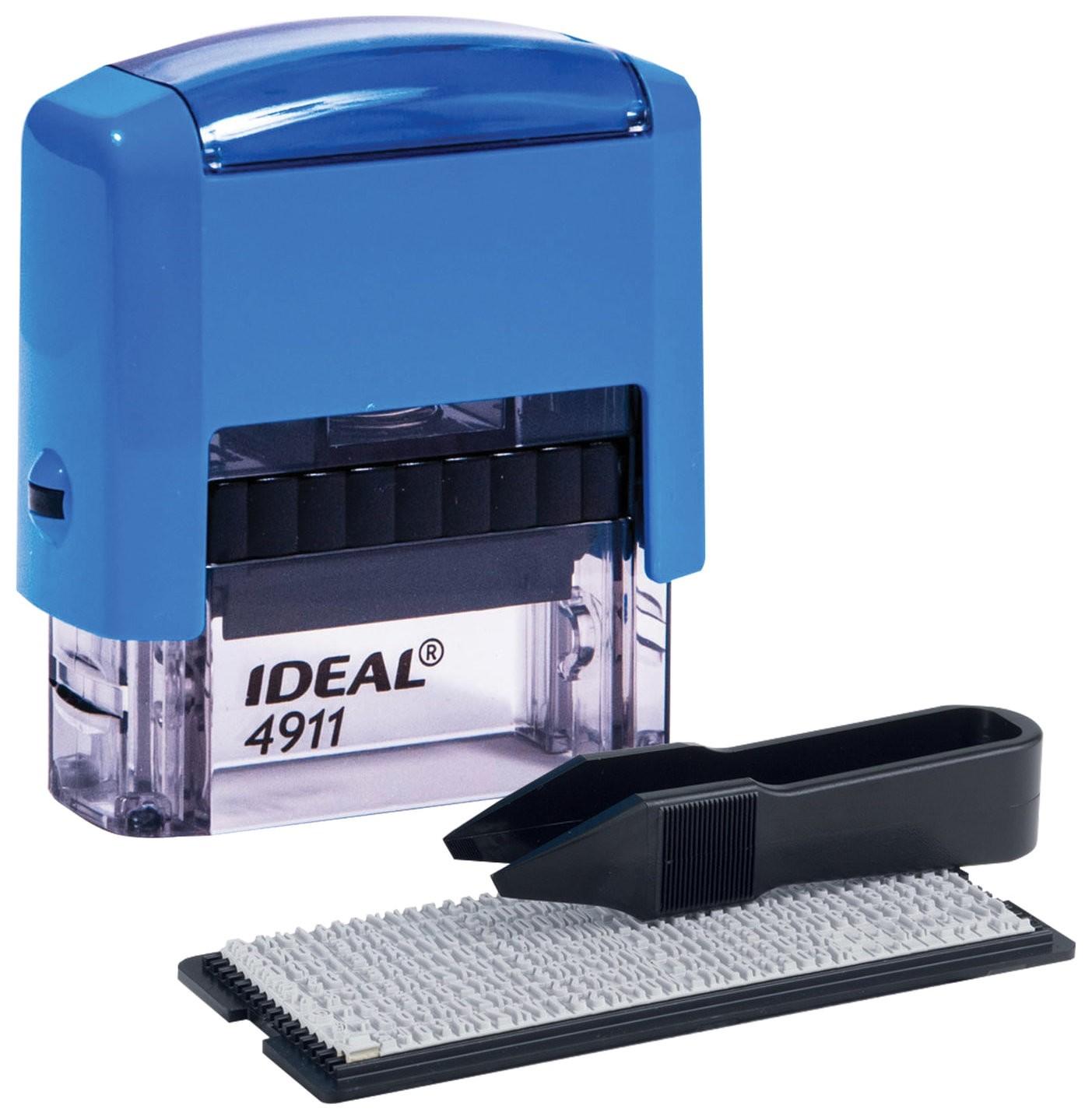 Штамп самонаборный 3-строчный, размер оттиска 38х14 мм, синий без рамки, Trodat Ideal 4911 P2, кассы  Trodat