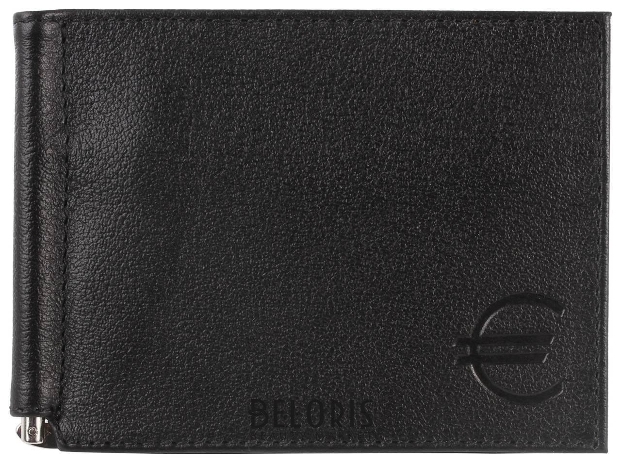 Зажим для купюр Befler Грейд, натуральная кожа, тиснение, 120х86 мм, черный Befler