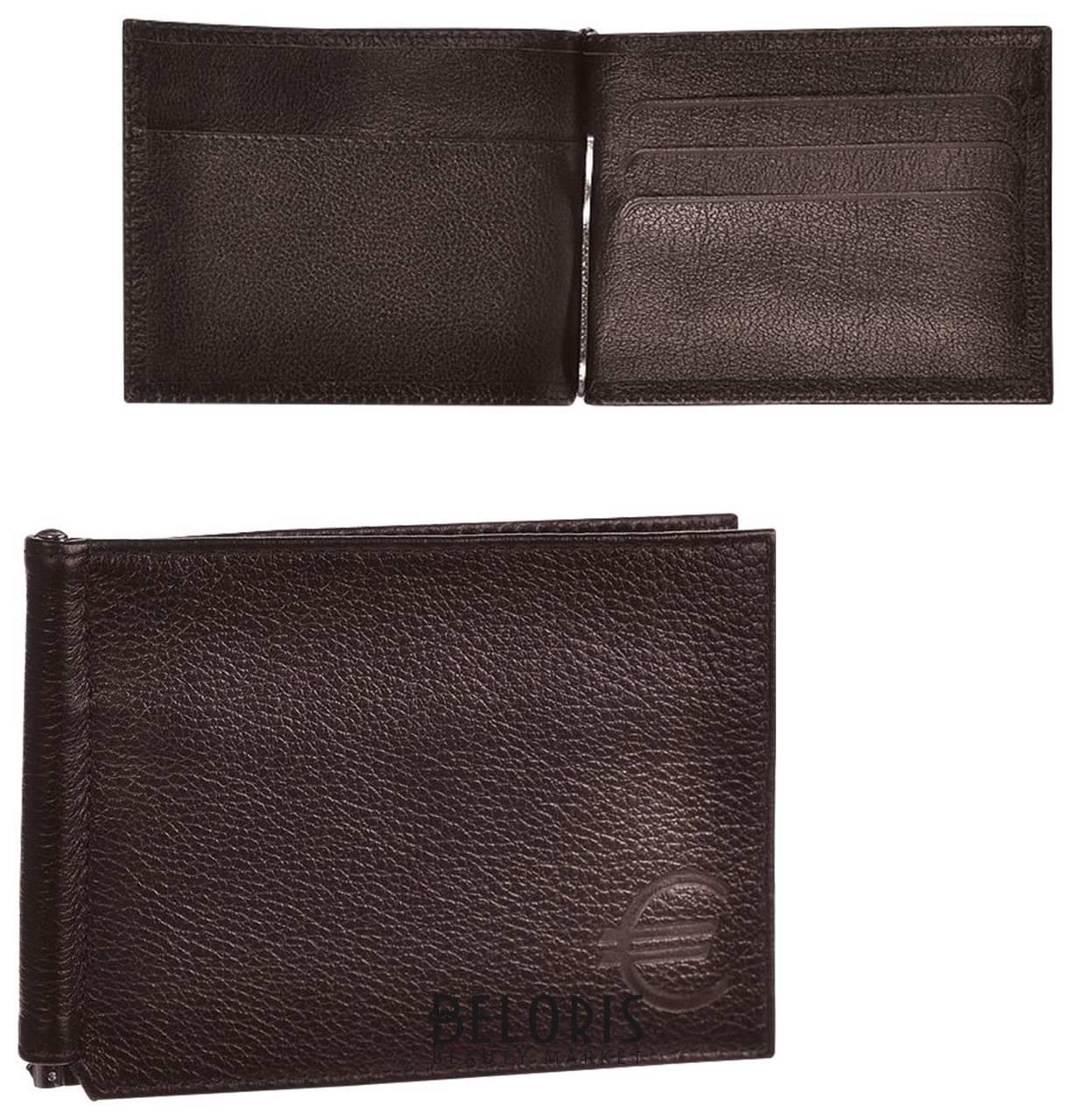 Зажим для купюр Befler Грейд, натуральная кожа, тиснение, 120х86 мм, коричневый Befler