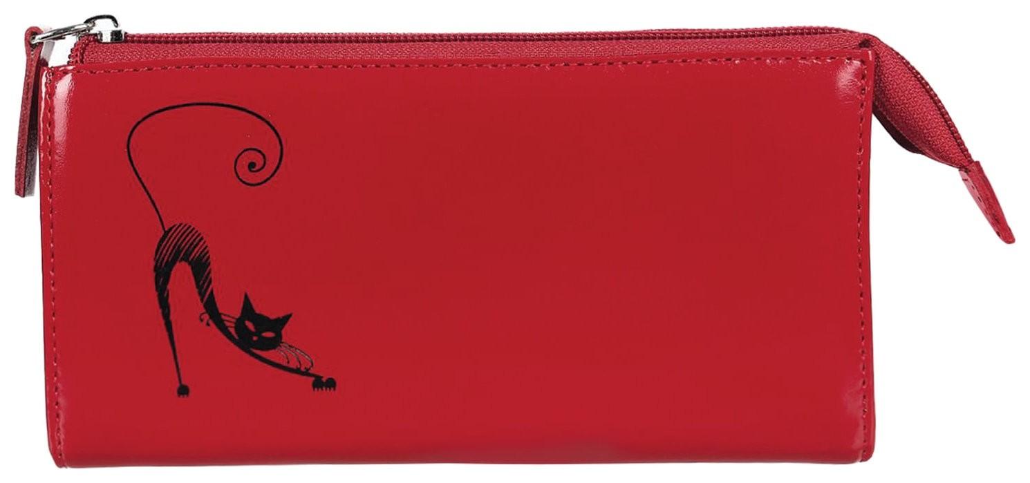 """Портмоне женское Befler """"Изящная кошка"""", 190х105 мм, натуральная кожа, молния, тиснение, красное  Befler"""