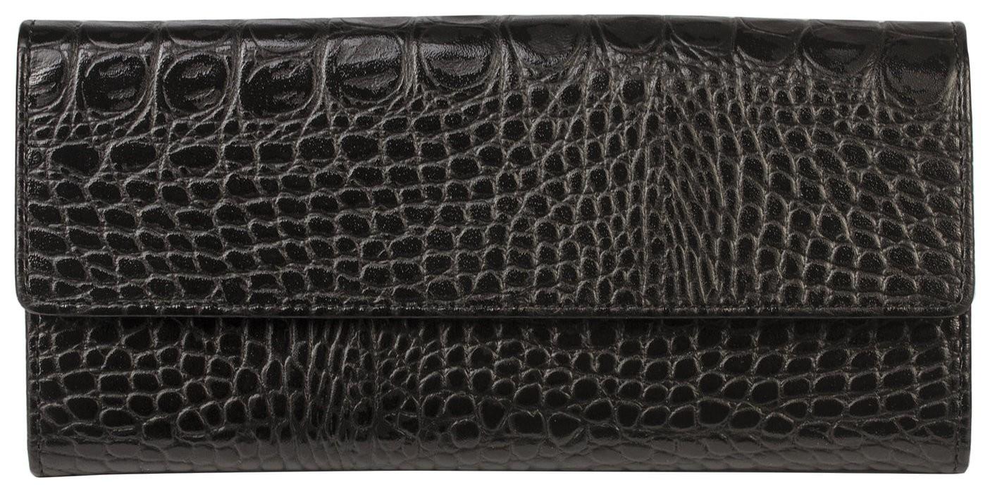 """Портмоне женское Befler """"Кайман"""", 185х92 мм, натуральная кожа, кнопка, крокодил, черное  Befler"""