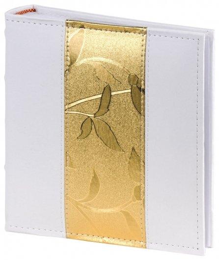 Фотоальбом Brauberg на 200 фото 10х15 см, под кожу, бумажные страницы, бокс, бело-золотистый  Brauberg
