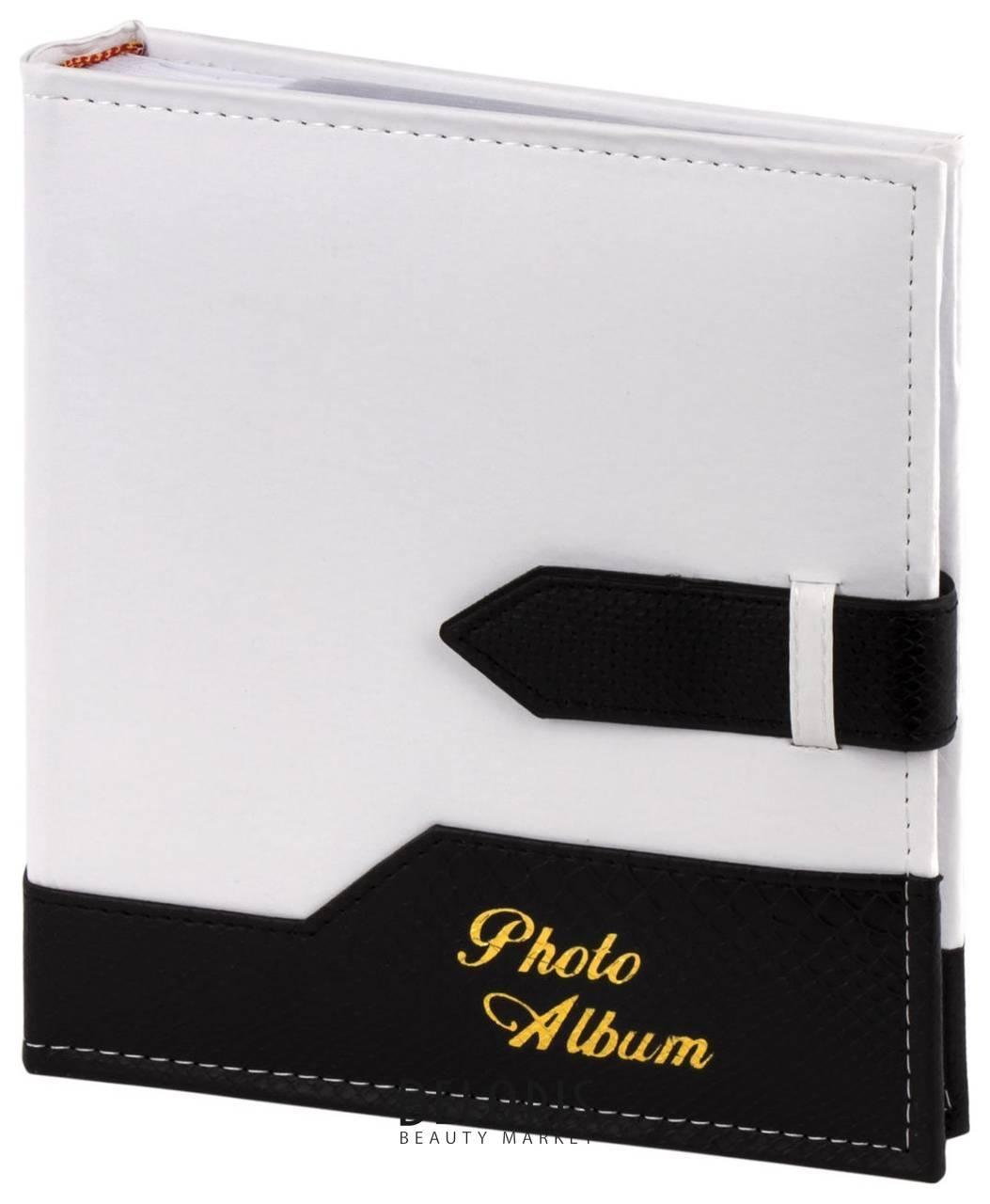 Фотоальбом Brauberg на 200 фото. 10х15 см, под замшу, бумажные страницы, бокс, белый с черным Brauberg