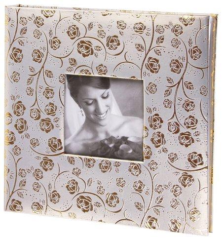 Фотоальбом Brauberg свадебный, 20 магнитных листов 30х32 см, под фактурную кожу, бело-золотой  Brauberg