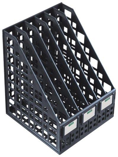 Лоток вертикальный для бумаг Cтамм (245х240х300 мм), 6 отделений, сетчатый, сборный, черный Стамм