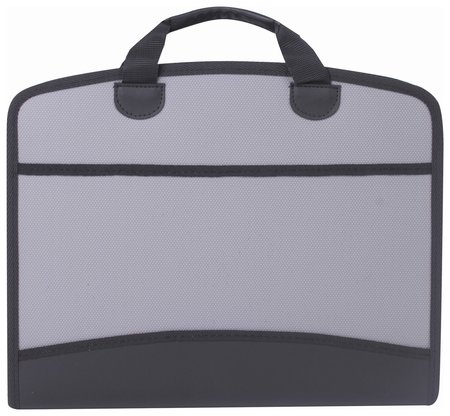 Портфель-сумка пластиковый Brauberg А4+ (375х305х60 мм), 4 отделения, 2 кармана, серый  Brauberg