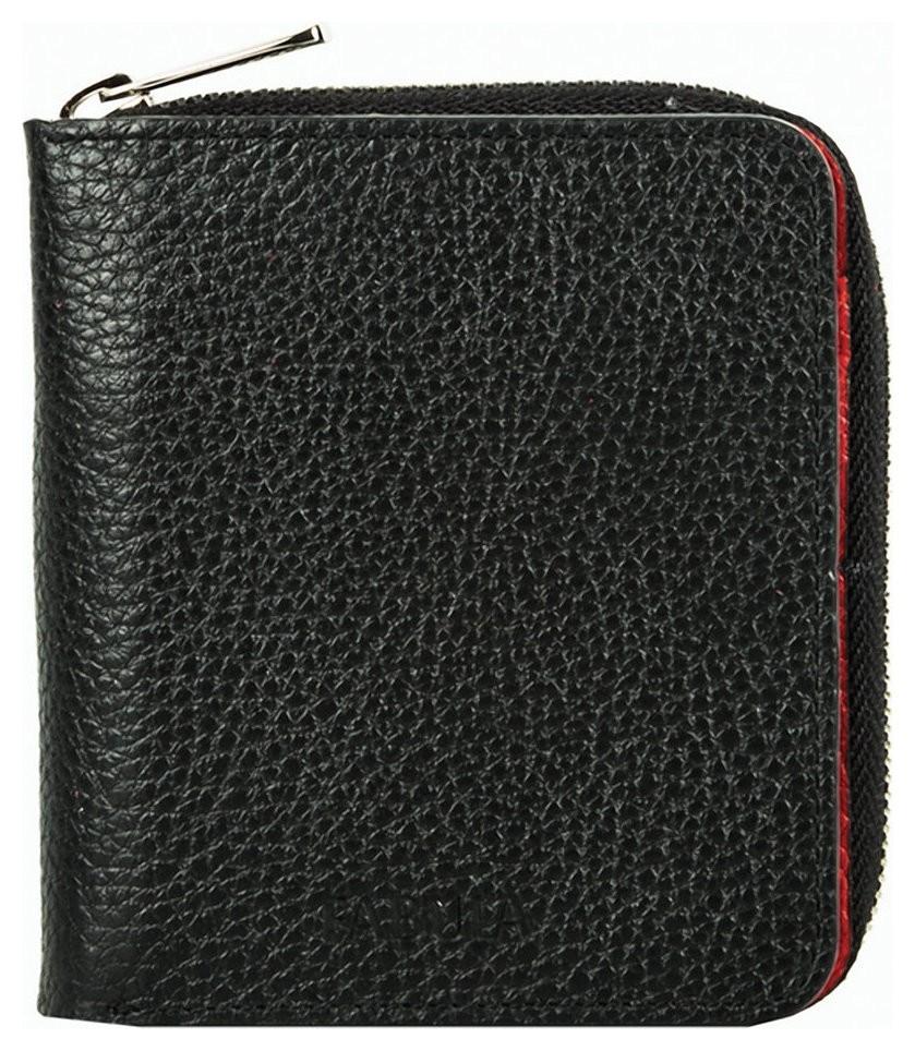 Портмоне женское Fabula, 105х110 мм, натуральная кожа, на молнии, черное с красным  Fabula