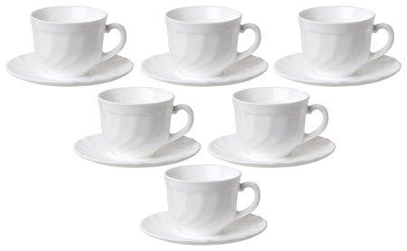 """Набор чайный на 6 персон, 6 чашек объемом и 6 блюдец, белое стекло, """"Trianon"""", Luminarc  Luminarc"""
