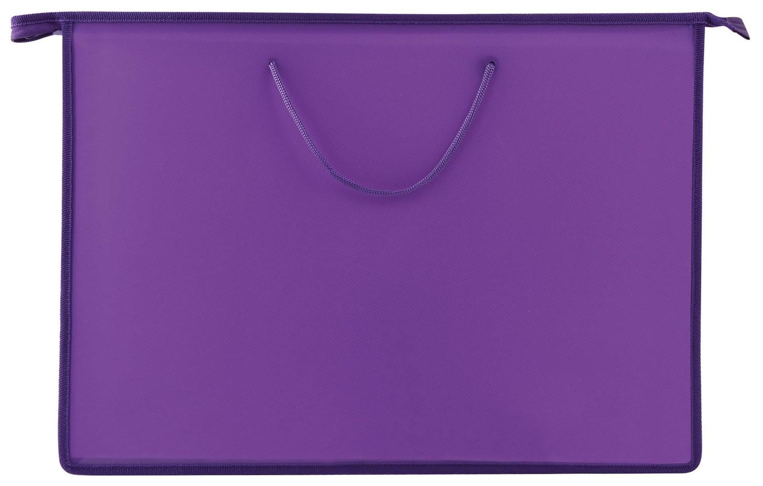 Папка для рисунков и чертежей А3, ручки-шнурок, пластик, молния сверху, Пифагор, фиолетовая  Пифагор