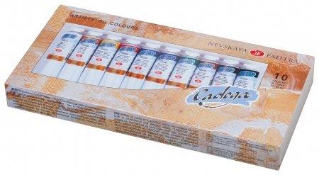 """Краски масляные художественные """"Ладога"""", набор 10 цветов по 46 мл, в тубах  Невская палитра"""