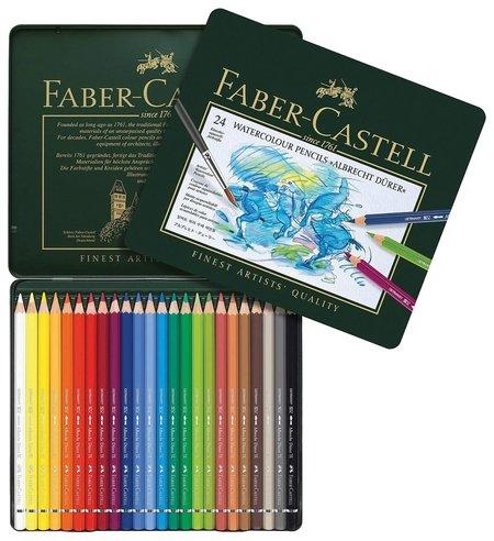 """Карандаши цветные акварельные художественные Faber-castell """"Albrecht Durer"""", 24 цвета, металлическая коробка  Faber-castell"""